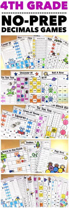 """""""Kids are LOVING these games during rotation time to reinforce standards."""" This 4th Grade Decimals Games Pack includes 15 differentiated games for practicing converting fractions to decimals, equivalent fractions and decimals, writing decimals to hundredths, adding fractions with denominators of 10 and 100 and expressing their answer as a decimal, and comparing decimals to hundredths. These games support the 4th grade CCSS decimal standards!"""