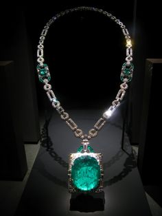 Mackay emerald, 168 karats, 1931. -   The stunning 167.97-carat Mackay Emerald was mined in Muzo, Colombia. The largest cut emerald in the National Gem Collection, it is set in an Art Deco diamond and platinum necklace designed by Cartier Inc. In 1931, Clarence H. Mackay presented the necklace as a wedding gift to his wife, Anna Case, a prima donna of the New York Metropolitan Opera from 1909 to 1920. The piece was donated to the Smithsonian Institute by Mrs. Anna Case Mackay in 1984
