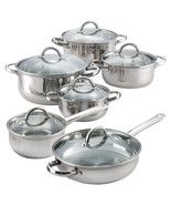 7 Piece 18/10 stainless steel cookware set with encapsulated base for even heat distribution. Stay cool hollow handles and knobs. 2 Tone polished exterior.  Features:  Set includes 1-qt. saucepan with lid, 2-qt. saucepan lid, 5-qt. dutch oven, ...