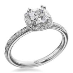 Christopher Designs - Classic Collection Platinum Halo Square Diamond Setting