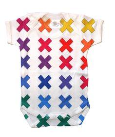 Baby onesie x-cross Handmade design rainbow colors pattern Graffiti Painting, Baby Onesie, Handmade Design, Abstract Canvas, Kids Clothing, Rainbow Colors, Color Patterns, Cool Kids, Kids Outfits