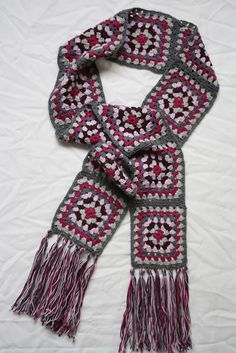 granny square scarf http://www.talesfromahappyhouse.com/2012/08/a-granny-square-scarf.html
