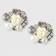 Flower, Pearl and Crystal Stud Earrings