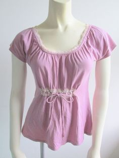 Anthropologie Ric Rac Lavender Purple Lace Trim Scoop Neck Cap Sleeve Top XS #Anthropologie #Blouse #Casual