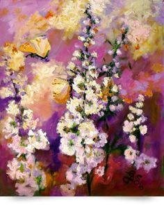Hollyhock & Butterflies Original Fine Art (Giclee Art Print), Ginette Callaway Imagekind,http://www.amazon.com/dp/B00GJZO65U/ref=cm_sw_r_pi_dp_y80qtb0K228TSKWE