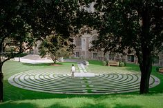 Chestnut Hill, Mass.: Boston College #911Memorial Labyrinth | The Memorial Labyrinth on the lawn of Burns Library is a 300-yard long, 28-loop labyrinth that is an exact replica of the one in the France's Chartres Cathedral, where for centuries pilgrims walk the pathway to pray, meditate and reflect.