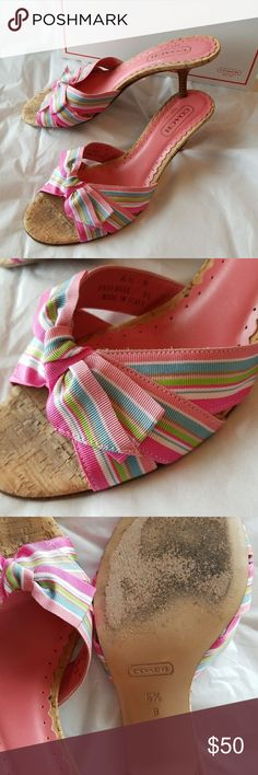Authentic Coach Bree Heels Multicolored Bow 6.5 Gorgeous pink and multi colored heels from coach, perfect for spring and summer. Size 6.5. Worn a handful of times but only real signs of wear are on bottom of shoes. Hard to find! Coach Shoes Heels