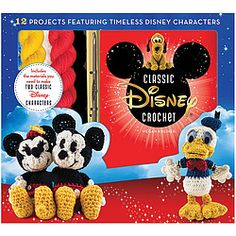 Special kit includes 5 colors of yarn, a crochet hook, tapestry needle, embroidery thread, 3 colors of felt, and stuffing--everything you need to create 2 of your favorites PLUS step-by-step instructions for crocheting a selection of 12 beloved characters: Mickey, Minnie, Donald, Daisy, Goofy, Pluto, Chip 'n' Dale, Dumbo, Bambi, Lady, Pinocchio, and Jiminy Cricket.