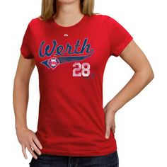 c7fab6d60 Majestic Philadelphia Phillies #28 Jayson Werth Ladies Red Lead Role Player  T-shirt