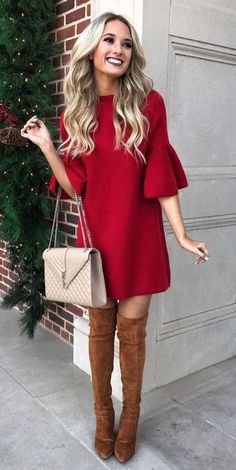Christmas Outfit For Adults Picture christmas outfit in 2019 dresses cute christmas outfits Christmas Outfit For Adults. Here is Christmas Outfit For Adults Picture for you. Christmas Outfit For Adults sexy christmas costume for women. Mode Outfits, Dress Outfits, Fall Outfits, Party Outfits, Red Dress Outfit Casual, Casual Outfits, Couple Outfits, Casual Heels, Party Dresses