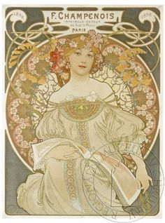 Alphonse Mucha Daydream/Reverie A beautiful Art Nouveau Lady. Alfons Maria Mucha, often known in English and French as Alphonse Mucha, was a Czech Art Nouveau painter and decorative artist, known best for his. Mucha Art Nouveau, Alphonse Mucha Art, Art Nouveau Poster, Poster Art, Retro Poster, Kunst Poster, Art Posters, Print Poster, Mucha Artist