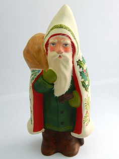 Chalkware Belsnickle Santa  hand crafted from an antique chocolate mold | Bittersweet House Folk Art www.bittersweethouse.com