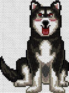 Husky-siberiano en punto de cruz