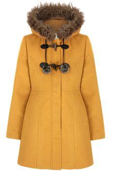 Μουσταρδι παλτο με κουκουλα και λεπτομερειες απο συνθετικη γουνα | Yumi London | Phillyshop.gr