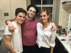 Emma Watson with Sam Clemmett and Anthony Boyle (Albus and Scorpius)
