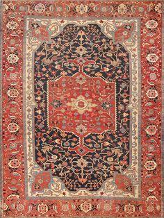 Antique Heriz Serapi Rug Provenance: Dustin Hoffman NYC 47612 Detail/Large View - By Nazmiyal