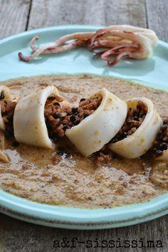 riso e lenticchie con calamaro su crema di pane