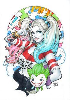 "league-of-extraordinarycomics: ""Harley Quinn by Eric Chen "" Harley Quinn Tattoo, Joker Et Harley Quinn, Harley Quinn Drawing, Harley Quinn Cosplay, Harley Qinn, Eric Chen, Daddys Lil Monster, Gotham Girls, Gotham Batman"