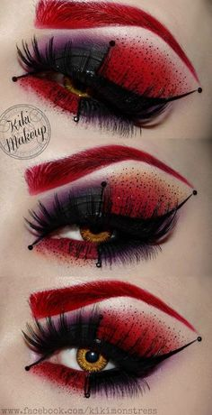 Idee für Karneval: Schwarze künstliche Wimpern mit rot-schwarzem Augen Make-Up… Idea for Carnival: Black artificial eyelashes with red-black eye make-up! To the costume as red queen Iracebeth from Alice in Wonderland. Fx Makeup, Cosplay Makeup, Costume Makeup, Makeup Ideas, Jester Makeup, Makeup Brushes, Makeup Tutorials, Makeup Eyeshadow, Doll Makeup