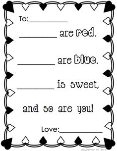 Poem Prompt for February/Valentine's Day - EVERYTHING you need to set up your writing center in February!