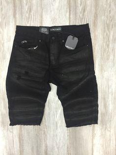 Raw & Dirty Cut Off Moto Short (Black)