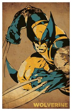 Wolverine inspired poster set by PosterGiant on Etsy Marvel Wolverine, Wolverine Poster, Logan Wolverine, Marvel Vs, Hero Poster, Comic Book Superheroes, Retro Art, Marvel Characters, Vintage Posters