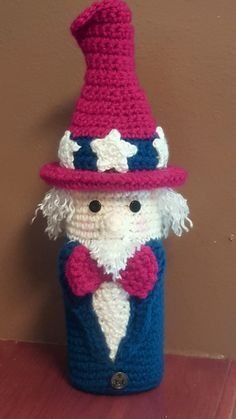 Uncle Sam to celebrate  4th of July in United States. Variation by Mary Ann Parker of Crochet by Mary Ann.