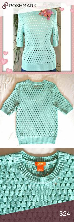 """Openwork sweater. NWOT. Adorable 1/2 sleeve sweater in bright mint, seafoam. The fabric is thick and feels silky soft.  Details: bust 36"""", length 22"""", 62% rayon, 38% nylon. Joe Fresh Sweaters Crew & Scoop Necks"""