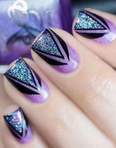 Glitter Nail Art Designs for Shiny & Sparkly Nails - Nails - glitter nails summer Cute Nail Art, Cute Nails, Pretty Nails, Purple Nail Art, Glitter Nail Art, Black And Purple Nails, Blue Nail, Sparkly Nails, Fancy Nails