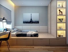 Platform bed with closet and drawer storage.