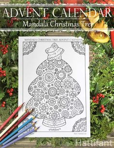 Advent Calendar Mandala Christmas Tree Coloring Page Christmas Tree With Presents Christmas Tree Advent Calendar Christmas Tree Coloring Page