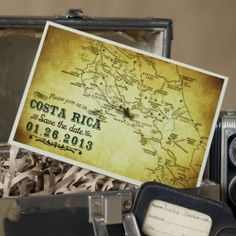 he Costa Rica vintage map save the date cards is perfect for announcing your wedding in Central America--Vintage Map Postcard Save the Date (Costa Rica)