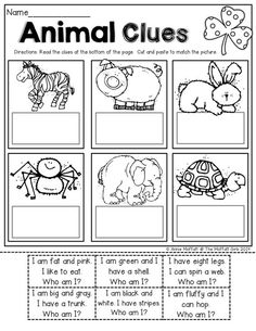 Read SIMPLE sentence clues, cut and paste to match the picture. Perfect for BEGINNING readers! Use for intervention Kindergarten Worksheets, Worksheets For Kids, In Kindergarten, Reading Worksheets, Digraphs Worksheets, Art Worksheets, English Activities, Reading Activities, English Lessons