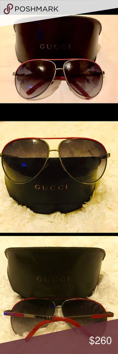 GUCCI Aviator Glasses W/ Vintage Leather Case GUCCI Aviator Sunglasses with Vintage leather case. Red, Black and Silver Aviator Glasses. Vintage leather case. There are some small scuff marks on the case. It was bough specifically because it's a vintage Gucci Case. So there's some marks, to be expected. The glasses are perfect, like new. I only wore them twice. I got them for my birthday last year. I love them, but they simply don't fit me. I'm petite with a small head! Lol  Gucci…