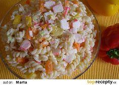 Barevný salát z krabích tyčinek recept - TopRecepty.cz Crab Stick, Pasta Salad, Salad Recipes, Ethnic Recipes, Sticks, Colorful, Crab Pasta Salad