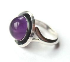 Vintage N E From amethyst and 925 silver modernist ring, Danish design by Niels Erik From, Scandinavian silver, sterling modernism. https://www.etsy.com/listing/245366634/vintage-n-e-from-amethyst-and-925-silver