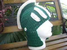 Michigan State Spartans Sparty beanie hat face by WoolieMonkey, $29.99