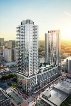 A rendering of the Seventh St. apartments that will be built by CIM Group and Falcone Group as part of the Miami Worldcenter complex. Condominium Architecture, Facade Architecture, Amazing Architecture, Mix Use Building, Building Design, Shopping Mall Architecture, 3d Architectural Visualization, 3d Studio, Building Facade