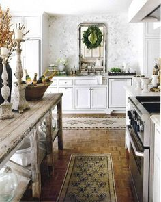 RENCH COUNTRY COTTAGE: collection of Vintage Cottage Kitchen Inspirations-- Aubergine Antiques carries trestle and farm tables like this and Crown and Colony houses silver & gold Louis Philippe mirrors and candlesticks. Home Interior, Kitchen Interior, Interior Design, Gray Interior, Modern Interior, Kitchen Dining, Kitchen Decor, Kitchen Ideas, Kitchen Island