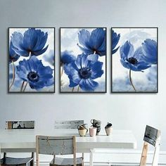 Nordic Simple Blue Flowers Decorative Paintings Canvas Posters and Prints Wall Art Picture for Living Room Home Decoration Flower Painting Canvas, Painting Prints, Wall Art Prints, Poster Prints, Wall Posters, Spray Painting, Painting Art, Canvas Poster, Canvas Wall Art