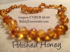 12.5 inch Polished Honey Baltic Amber Teething Necklace Baby Infant Toddler