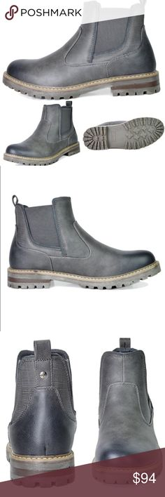 """NEW Mens Casual Ankle Boots Slip On NEW   Men's 'Chelsea' Bruno Slip Ankle Boots  Color: Gray Grey  Features:  Durable outsole Heel height 1""""  Platform measures approx 0.5"""" Plain-toe Chelsea boot featuring Faux Fir lined Stylish, Flexible, and Comfort Ankle Boots  Pull off a Comfortable and Edgy look with these Casual fur lined boots! Features a Slip On design, classic round toe design, elastic side panel for easy on and off. Finished with smooth fabric Lining, non-skid outsole and a…"""