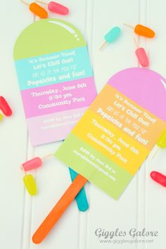 Popsicle Invitations - Giggles Galore