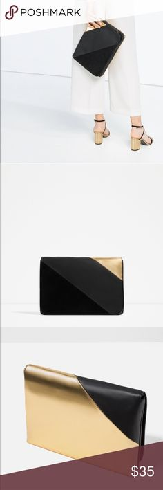 Zara black & metallic gold clutch Zara black and metallic gold clutch with removable strap purse. Zara Bags Clutches & Wristlets