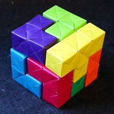 Tektonten Papercraft - Free Papercraft, Paper Models and Paper Toys: Origami Soma Cube Puzzle
