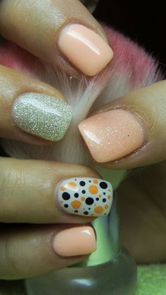 Orange, silver and white nails with dots by Valkira