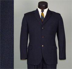 Vintage Mens Suit 1960s BRITISH MOD Navy and Black Wool Weave 3 Three Piece Wool Suit Mens Vintage Suit.