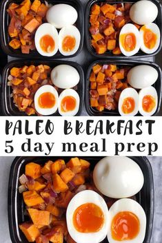 Paleo Breakfast Meal Prep – Mad About Food Paleo breakfast meal prep. A make ahead breakfast that you can prep on Sunday and have a paleo breakfast every day of the work week. Make ahead paleo breakfast made with sweet potatoes, bacon, red onion and eggs. Paleo Menu, Paleo Meal Prep, Healthy Dinner Recipes, Whole Food Recipes, Diet Recipes, Food Prep, Paleo Food, Paleo Dinner, Paleo Nutrition