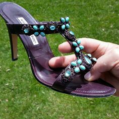 Manolo Blahnik Swarovski Jeweled T-Sandals (Sz. 42