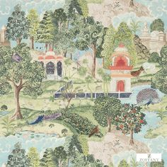 """""""Peacock Garden"""" by Melissa White for Zoffany's Jaipur Collection. Linen, velvet and wallpaper. Launched Autumn Luxury Fabric and Wallpaper Design. Print Wallpaper, Fabric Wallpaper, Wallpaper Roll, Coral Wallpaper, Bedroom Wallpaper, Wallpaper Designs, Traditional Decor, Traditional Wallpaper, Chinoiserie"""